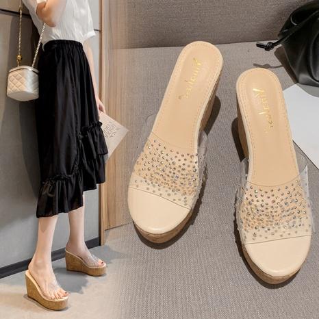 fashion simple sponge platform transparent rhinestone sandals NHHU321903's discount tags