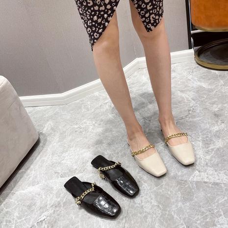 nouvelles chaussures à motif de pierre à chaîne à bout carré NHHU321905's discount tags