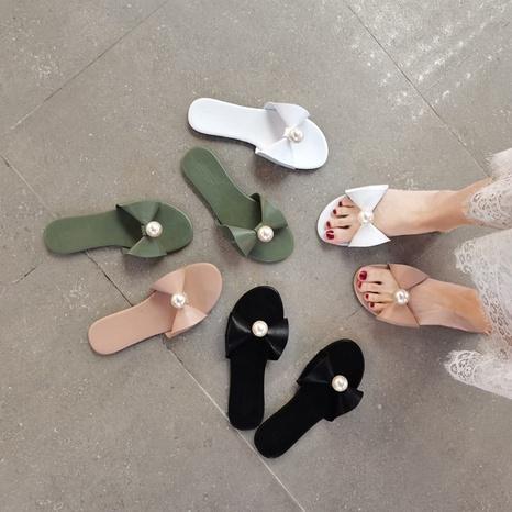 Pantoufles à bout ouvert et nœud de perles de mode coréenne NHHU321906's discount tags