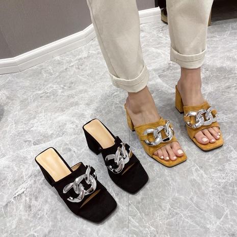 nouvelles pantoufles à bout carré à chaîne simple à la mode NHHU321907's discount tags