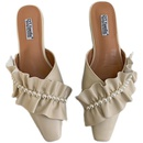 new pearl shallow mouth lace ruffled mules NHHU321908