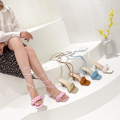 Sandales coréennes à bout ouvert tissé à lacets NHHU321910's discount tags
