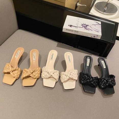 Sandales à talons aiguilles tressées à la mode coréenne NHHU321916's discount tags