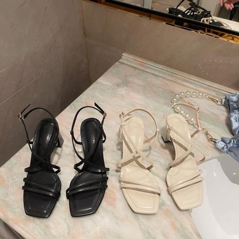 Sandales à talons épais à boucle romaine NHHU321917's discount tags
