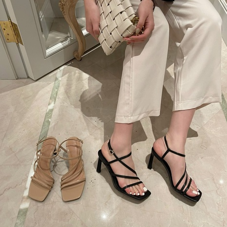 Korean sexy high-heeled cross strap buckle sandals NHHU321921's discount tags