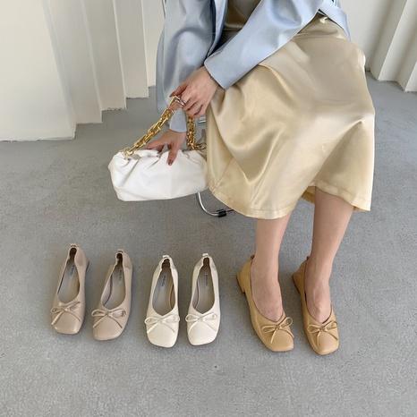 Nouvelle mode coréenne chaussures simples à talons bas carrés NHHU321923's discount tags