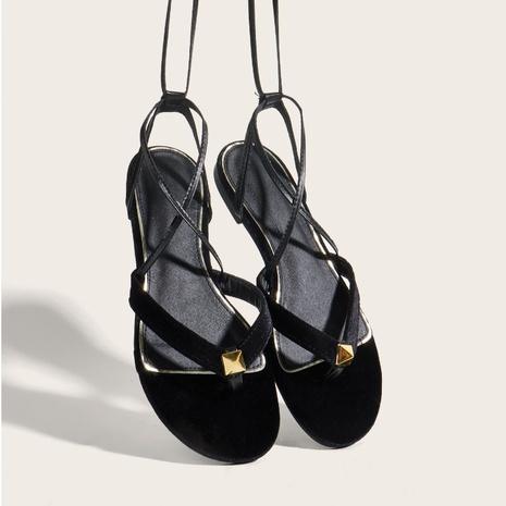 sandales plates à lacets en corde à rivets NHHU321925's discount tags