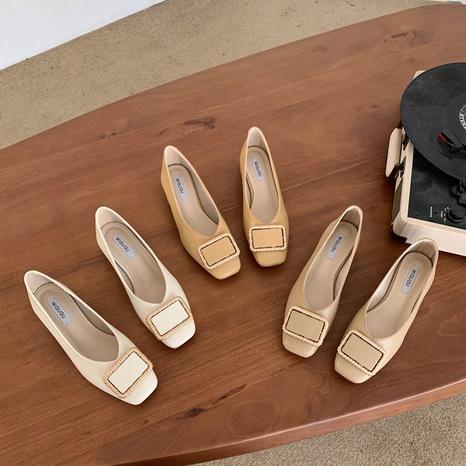 Nouvelle mode coréenne chaussures simples à talons épais NHHU321928's discount tags