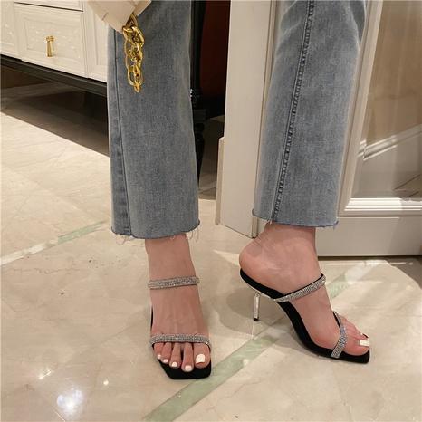 nouvelles chaussures carrées sexy en strass de la mode coréenne NHHU321932's discount tags