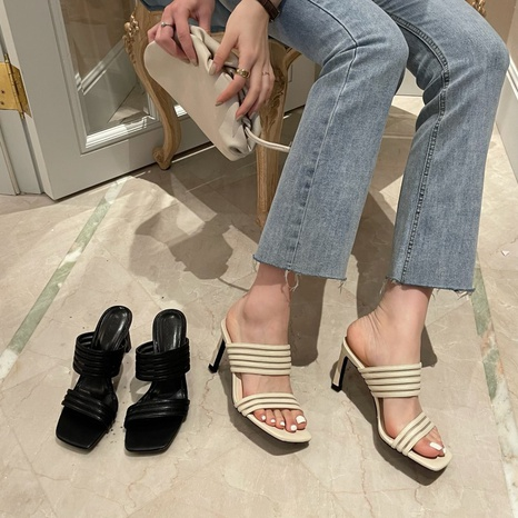 Korean new fashion woven sexy square sandals NHHU321936's discount tags