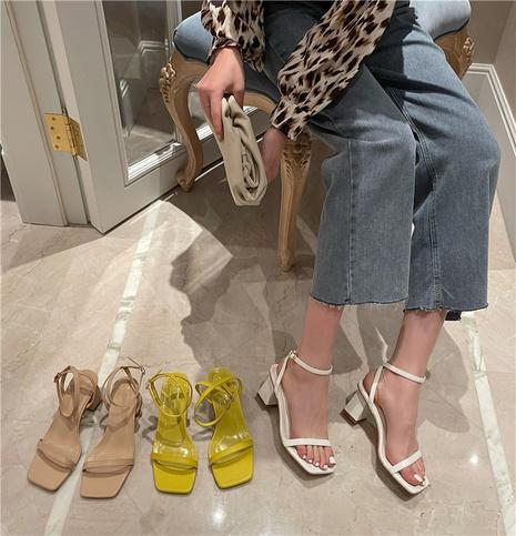 Sandales coréennes à talons hauts épais à bout ouvert NHHU321939's discount tags