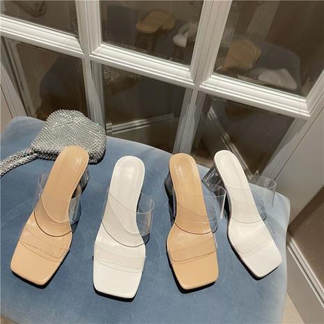 nouvelles sandales en cristal simples à talons hauts transparents NHHU321938's discount tags