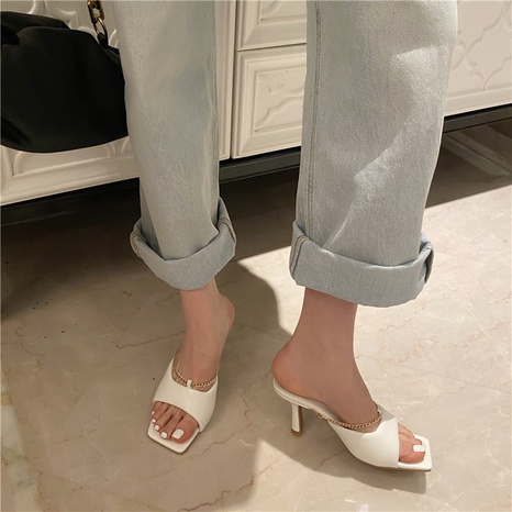 Korean new fashion chain solid color slippers NHHU321941's discount tags