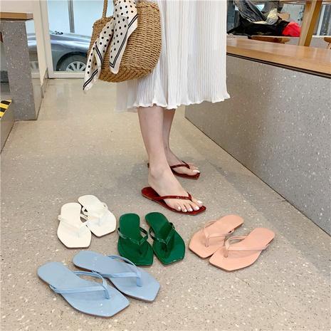 nouvelles pantoufles coréennes simples de style station balnéaire plat NHHU321943's discount tags