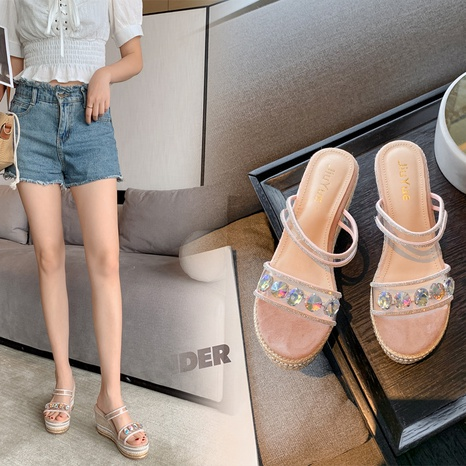 Nouvelle mode sandales transparentes à fond épais en strass NHHU321945's discount tags