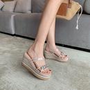 Nouvelle mode sandales transparentes  fond pais en strass NHHU321945