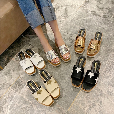 fashion thick-soled sequin sandals NHHU321972's discount tags
