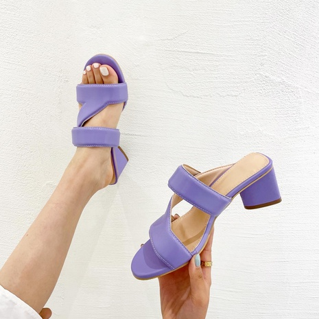 summer thick-heeled open-toe slippers NHHU321973's discount tags