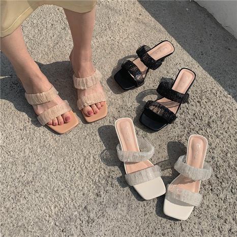 Pantoufles à talons mi-hauts à la mode coréenne NHHU321977's discount tags