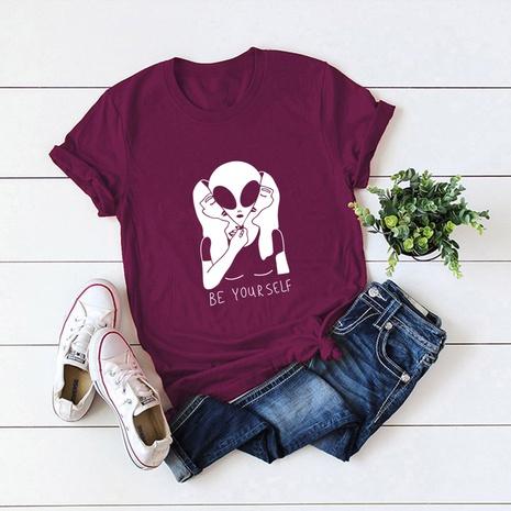 t-shirt à manches courtes en coton imprimé alien NHSN321985's discount tags