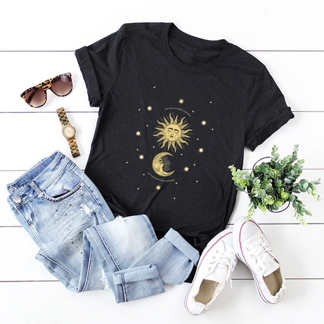 t-shirt manches courtes en coton soleil et lune NHSN321988's discount tags
