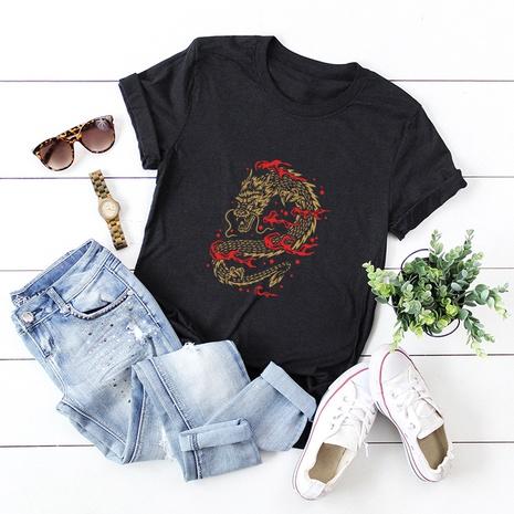 t-shirt manches courtes en coton à imprimé dragon totem NHSN321989's discount tags