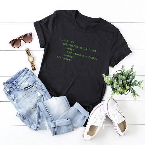 t-shirt à manches courtes en coton imprimé lettres NHSN321990's discount tags