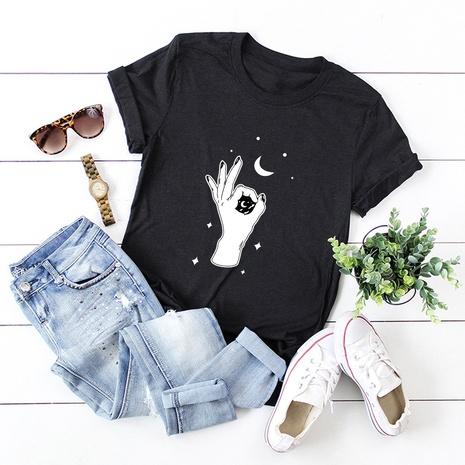 t-shirt à manches courtes en coton à imprimé finger ok NHSN321993's discount tags