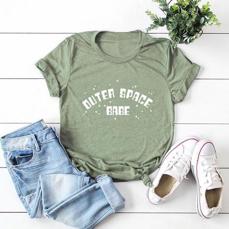 t-shirt à manches courtes en coton imprimé lettres NHSN321995's discount tags