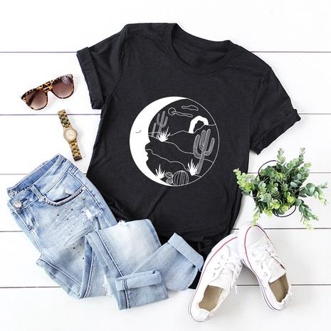 t-shirt à manches courtes en coton imprimé cactus NHSN321996's discount tags