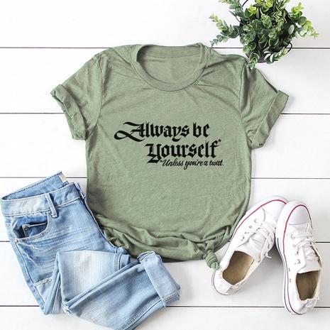 t-shirt à manches courtes en coton imprimé lettres de mode NHSN321997's discount tags