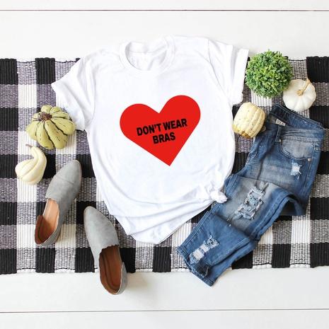 t-shirt à manches courtes en coton imprimé cœur à la mode NHSN321998's discount tags