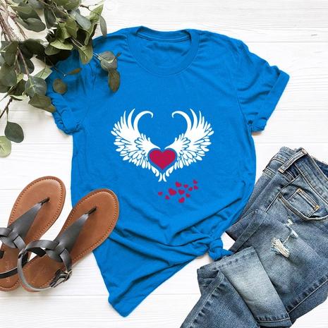 t-shirt à manches courtes en coton à motif ailes de mode NHSN322000's discount tags