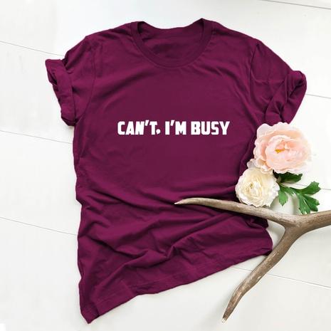 t-shirt à manches courtes en coton imprimé lettres simples NHSN322001's discount tags