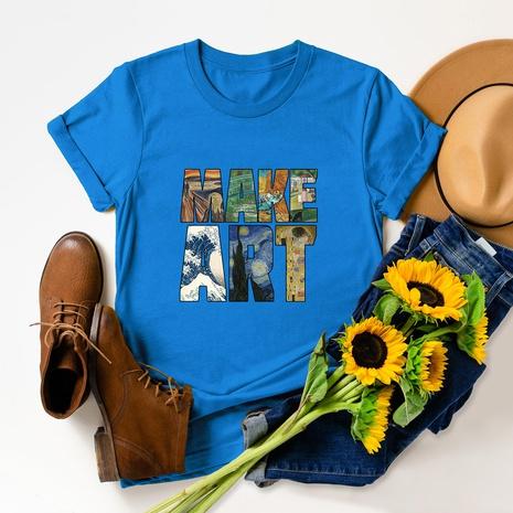 t-shirt à manches courtes en coton imprimé lettres de mode NHSN322004's discount tags