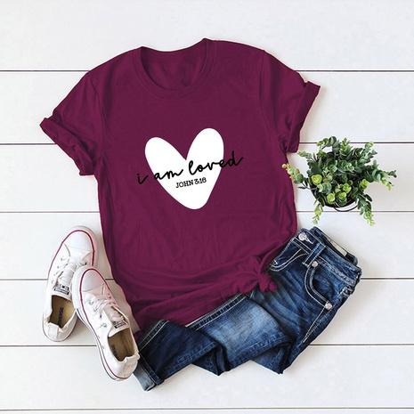 t-shirt à manches courtes en coton imprimé cœur populaire NHSN322014's discount tags