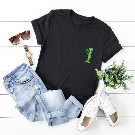 t-shirt à manches courtes en coton imprimé alien NHSN322020's discount tags
