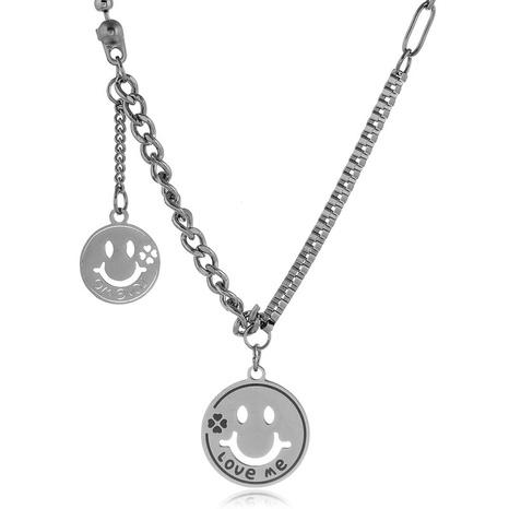 collier pendentif visage souriant simple en acier inoxydable NHSC322108's discount tags