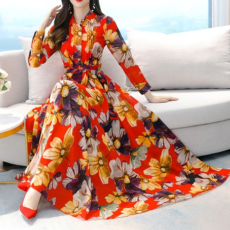 fashion long sleeve chiffon floral dress NHZN322635's discount tags