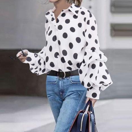 new fashion loose polka-dot long-sleeved shirt NHJG322587's discount tags
