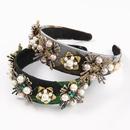 fashion diamondstudded pearl flower headband  NHJE322123
