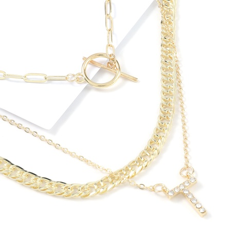 hip-hop letter diamond three-layer alloy necklace NHJE322129's discount tags