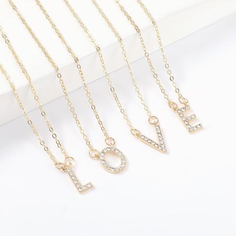 Mode einfache Diamant-Buchstaben-Legierungs-Halskette NHJE322131's discount tags