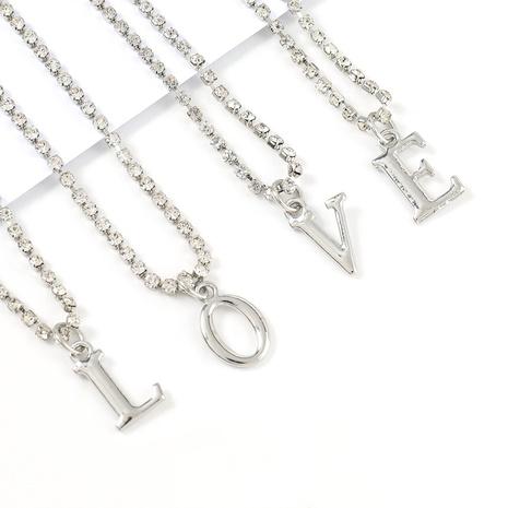 Halskette aus Hip-Hop-Diamant-Buchstabenlegierung NHJE322133's discount tags