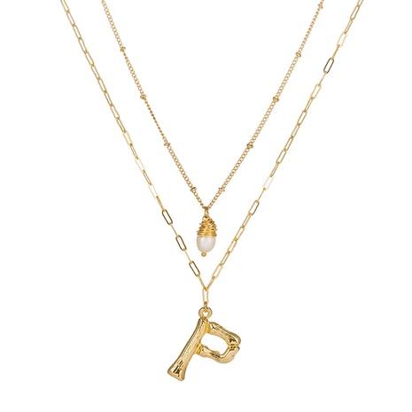heiß verkaufte Mode Englisch Buchstabe P Anhänger Halskette NHAN322148's discount tags