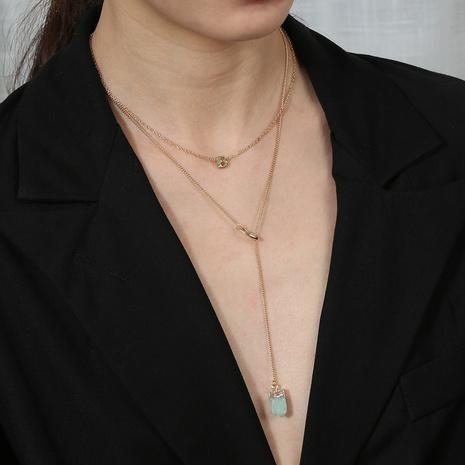 Mode mehrschichtige Buchstabe B lange Anhänger einlagige Halskette NHAN322157's discount tags