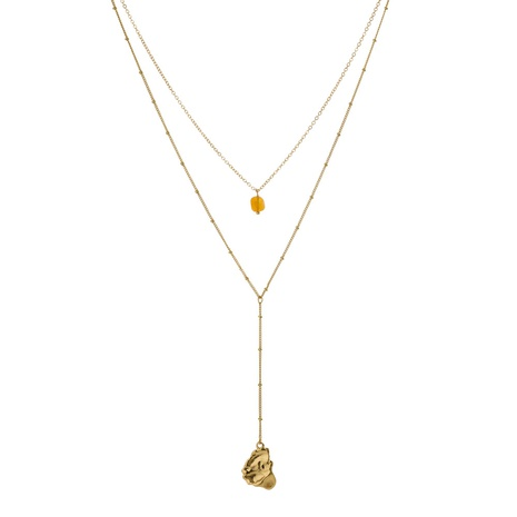 fashion natural stone drop pendant necklace NHAN322156's discount tags