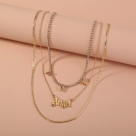 fashion chain tassel butterfly letter Angel multi-layer necklace NHAN322158's discount tags