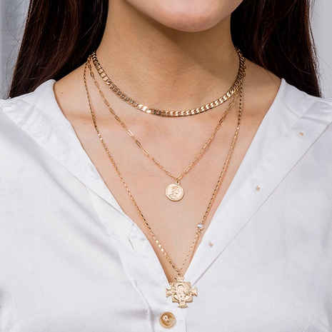 retro thick card coin multilayer necklace NHAN322162's discount tags