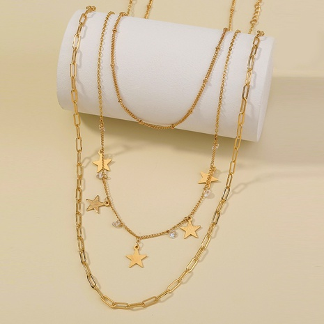 simple five-pointed star zircon tassel multi-layer necklace NHAN322165's discount tags